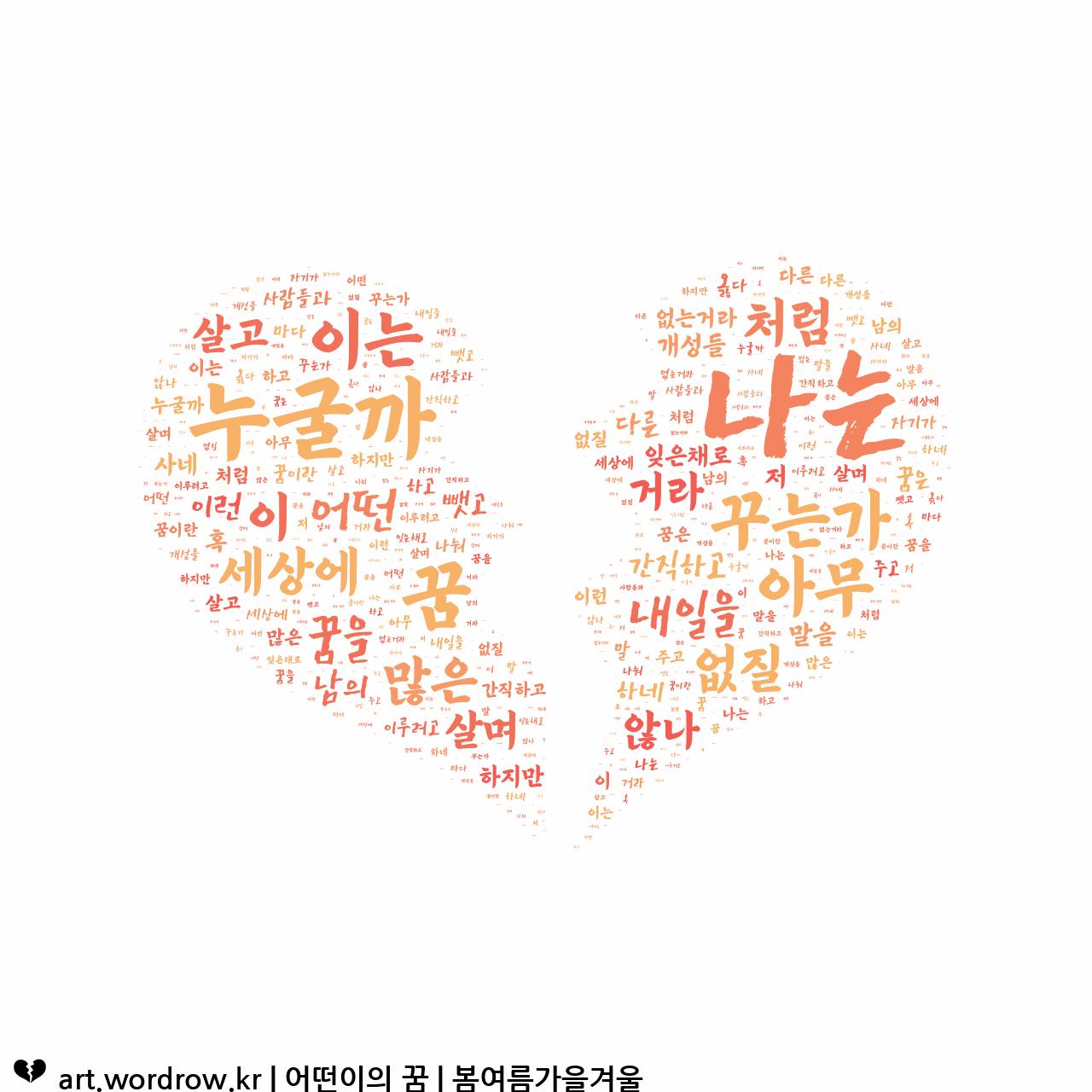 워드 클라우드: 어떤이의 꿈 [봄여름가을겨울]-9
